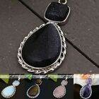 Crystal Gem Stone Inlaid Teardrop Flower Pendant Reiki Healing Bead For Necklace