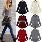 Womens Sweaters Long Sleeve Crew Neck Pullover Jumper Loose Long Tops skirt Hem