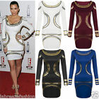 Labreeze Womens Gold Foil Mini Dress Celebrity KIM KARDASHIAN Bodycon Tunic Shor