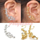 1X Punk Crystal Flower Temtation Metallic Right Ear U Clip on Earring No Hole