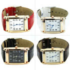 PoPular Men Women Leather Band Square Dial Quartz Watches Wrist Watch New