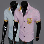 Fashion Summer Casual Men's MultiColor Plaid Short Sleeve Shirt Top Dress US LO