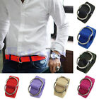 New Unisex Women Men Fashion Belts Canvas Belt Double Buckle Loop Casual Dress