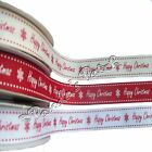 Happy Christmas Grosgrain Ribbon - Choose Colour Length and Width - Free UK Post
