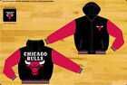 Chicago Bulls NBA Jacket 2-Tone Black Red Fleece Reversible Nylon Hood