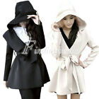 Fashion Women's Slim Hood Belt Jacket Coat Trench Parka Windbreaker Outwear S-L