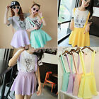 Girl  Waist Suspender Skirt Pastel Skater Flared Pleated Mini Dress Vest 2014