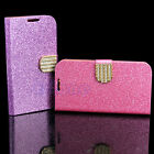 Leather Crystal Wallet Flip Cover Stand Case For Samsung Galaxy S5 SV i9600 New