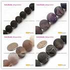 Pretty Natural Round Frost Geode Agate Gemstone Jewelry Making Beads Strand15'