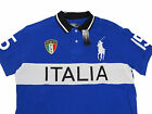 $145 Ralph Lauren Mens White Blue Italy Big Pony Logo Polo Button Rugby Shirt