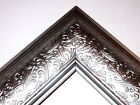 "3.5"" Wide Mettalic Silver Ornate Canvas Picture Frame-Custom Made Standard Sizes"