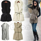 Women Faux Lamb Fur Hoodie Waistcoat Long Vest Sleeveless Jacket Coat Outerwear