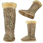 Women Fur Collar Pull On Winter Comfort Mid Calf Leopard Print Boots Brown