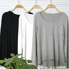 New Fashion Women Crew Neck Long-sleeved Loose Cotton Trend T-shirts Blouse Tops