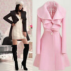 Womens Long Sleeve Turn down Collar Trench Coat Jacket Outwear One Button Tops