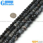 Round Crackle Faceted Black Agate Gemstone Jewelry Making Loose Beads 15""