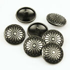 12PCS Spiricle Silver Flower Shank Button Metal Sewing Embellishment Round 23mm