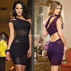 Sexy Womens One Shoulder Mesh Dress Cocktail Evening Clubwear Bodycon Dress K0E1