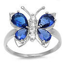 GIFT! Blue Sapphire & Russian CZ Butterfly .925 Sterling Silver Ring Sizes 5-10