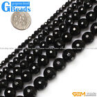 "Natural Round Faceted Black Agate Gemstone Onyx Strands 15"" for Jewelry Making"