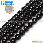 Natural Round Faceted Black Agate Beads Jewelry Making Gemstone Onyx Beads15""