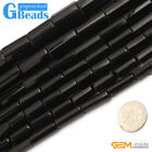 Natural Black Agate Onyx Gemstone Faceted Column Tube Beads Free Shipping 15""