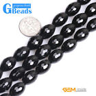 "Olivary Faceted Black Agate Loose Beads Strands 15"" Gemstone for Crafts Making"