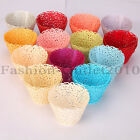 24x CUPCAKE WRAPPERS SLEEVES HOLDERS PARTY WEDDING CUP CAKE WHITE GOLD RED CREAM