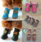 BOOTS Waterproof Pet Dog Shoes Booties Protective All Weather Cold Brown Black