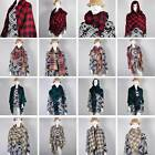 Lady Women Winter Infinity Blanket Oversized Shawl Plaid Check Tartan Scarf Wrap