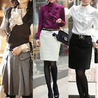 Women OL Front Waterfall Ruffle High Neck Stand Collar Chiffon Top Shirts Blouse