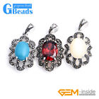 fashion oval beads Marcasite silver pendant 1 pcs 18x34mm FREE gift box +chain