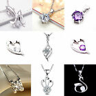 Fashion Women Silver S925 Crystal Platinum Plating Pendant with Necklace