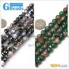 "Round Faceted Fire Agate Gemstone Loose Beads Strands 15"" Jewelry Making 8mm"