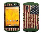 For Google LG Nexus 4 USA American Flag RKR Hard&Rubber Rugged Phone Case Cover