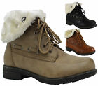 Ladies Womens Army Combat Fur Lined Lace Up Biker Winter Ankle Boots Size