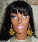 """NEW~Hand Made LONG Your Color Lacy Light Venise LaceV Drop Flower Earrings 5"""""""
