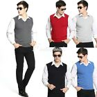 HOT Men's Fashion Solid Basic V-Neck Knit Sweate Sleeveless Tank Top Vest S-3XL