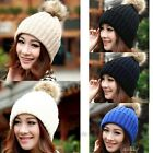 Hot 2014 winter hats for women with fur ball Knitted Braided Crochet Beret Caps
