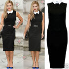 Womens Ladies Bodycon Smart Formal Work Black Midi Knee Length Long Pencil Dress