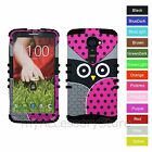 For Verizon LG G2 Owl /Polka Dot Hybrid Hard & Silicone Rugged Impact Case Cover