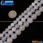 Natural Stone White Agate Round Beads For Jewelry Making Free Shipping 15""