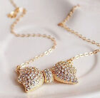 korea stylish exquisite pretty crystal bowknot luxury charm jewel gold necklace