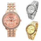 New Lady Women Fashion Geneva Gold Crystal Quartz Rhinestone Crystal Wrist Watch