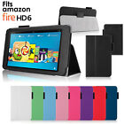 Leather Flip Case Cover with Stand for New Amazon Fire HD 6 Tablet (HD6 / 2014)