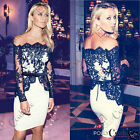 Womens Celeb Black Lace Bodycon Cocktail Evening Party Prom Midi Boutique Dress
