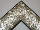 """2.3"""" Aged Silver Rose Ornate Wood Canvas Frame Picture Frame-Custom Square Sizes"""