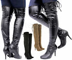 Ladies Womens Over The Knee Thigh High Platform Stiletto Heel Stretch Boots Size