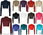 Women's Turtle Neck Crop Ladies Long Sleeve Plain Polo Short Stretch Top