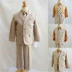 Toddler teen boy khaki/light brown/dark taupe formal suit plaid and checks all s